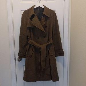 Gap brown herring bone wool coat